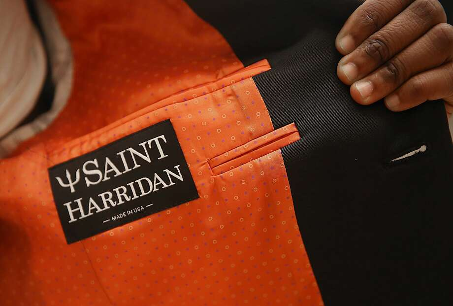 The label in the suit jacket of Saint Harridan. Photo: Liz Hafalia, The Chronicle