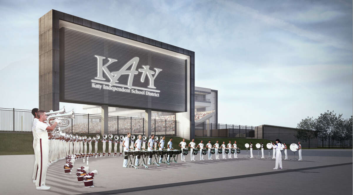 Artist rendering of the scoreboard and fine arts plaza of the second stadium for Katy ISD.