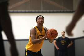 UC Berkeley freshman forward Ivan Rabb attempts a free throw during practice on Tuesday, Aug. 4, 2015.