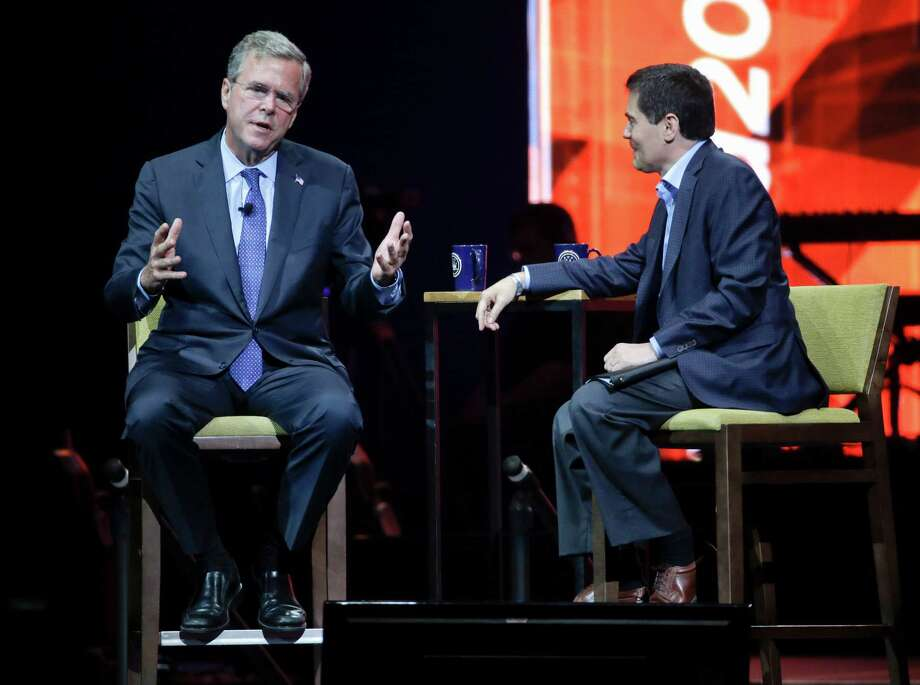 "Former Florida Gov. Jeb Bush, being interviewed by Dr. Russell Moore at the Send North America Conference on Tuesday, said, ""I'm not sure we need half a billion dollars for women's health issues."" Photo: Mark Humphrey, STF / AP"