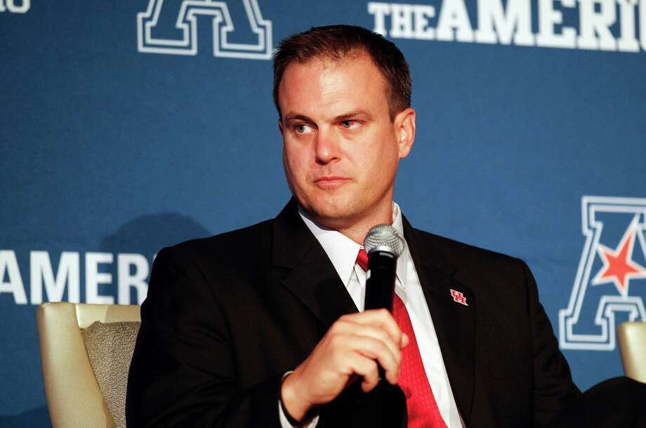 Houston coach Tom Herman speaks at the American Athletic Conference NCAA college football media days in Newport, R.I., Tuesday, Aug. 4, 2015. (AP Photo/Stew Milne) Photo: Stew Milne, FRE / FR56276 AP
