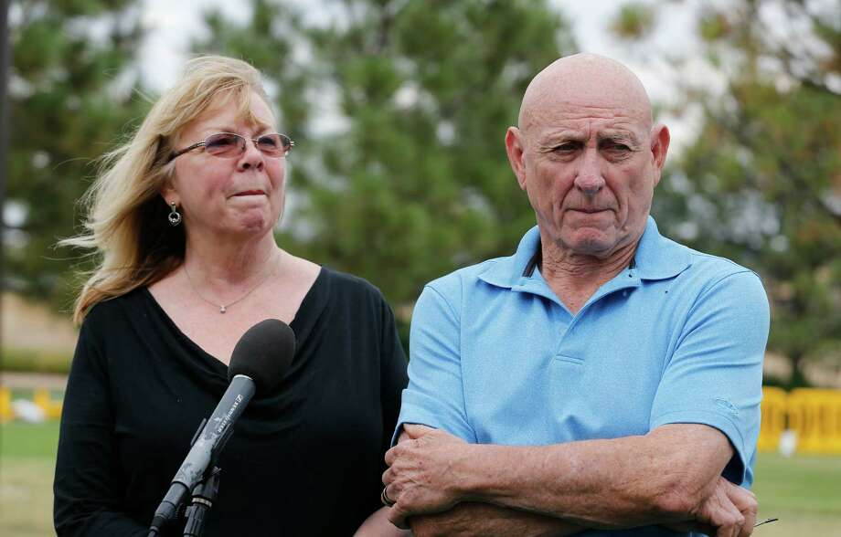 Lonnie and Sandy Phillips, mother of Jessica Ghawi, speak with the media Monday in Centennial, Colo. Photo: Brennan Linsley /Associated Press / AP
