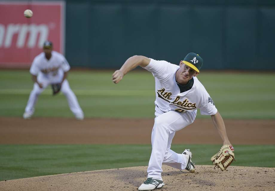 Oakland Athletics starting pitcher Chris Bassitt   on the mound in the first inning of their baseball game against the Baltimore Orioles Tuesday, Aug. 4, 2015, in Oakland, Calif. (AP Photo/Eric Risberg) Photo: Eric Risberg, Associated Press