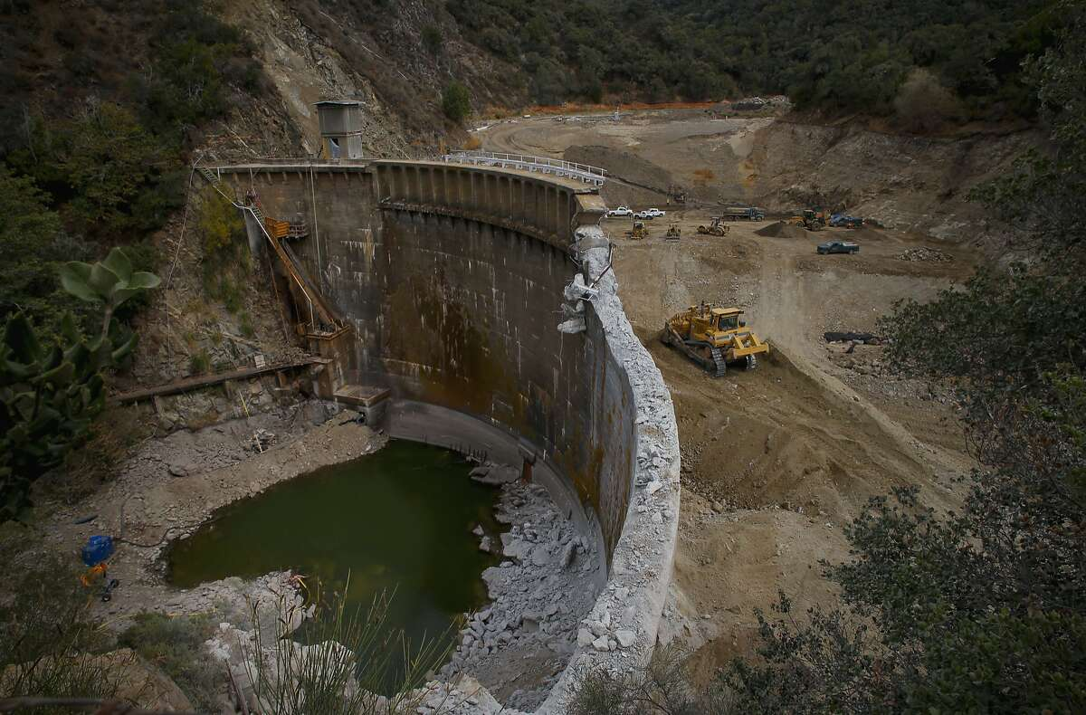 The demolition of the San Clemente Dam in Carmel Valley, California, is viewed from above on Tues. August 4, 2015.