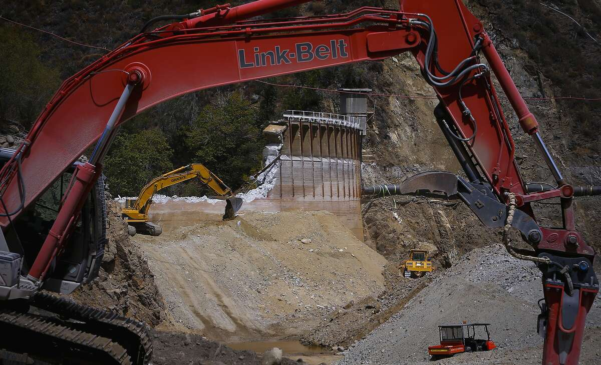 The demolition of the San Clemente Dam continues in Carmel Valley, California, as seen on Tues. August 4, 2015.