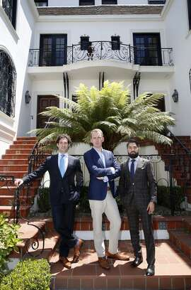 """Dressing the part: Real estate agents Justin Fichelson (left), Andrew Greenwell (middle), and Roh Habibi (right),  star in """"Million Dollar Listing SF"""", a reality show series based in San Francisco."""