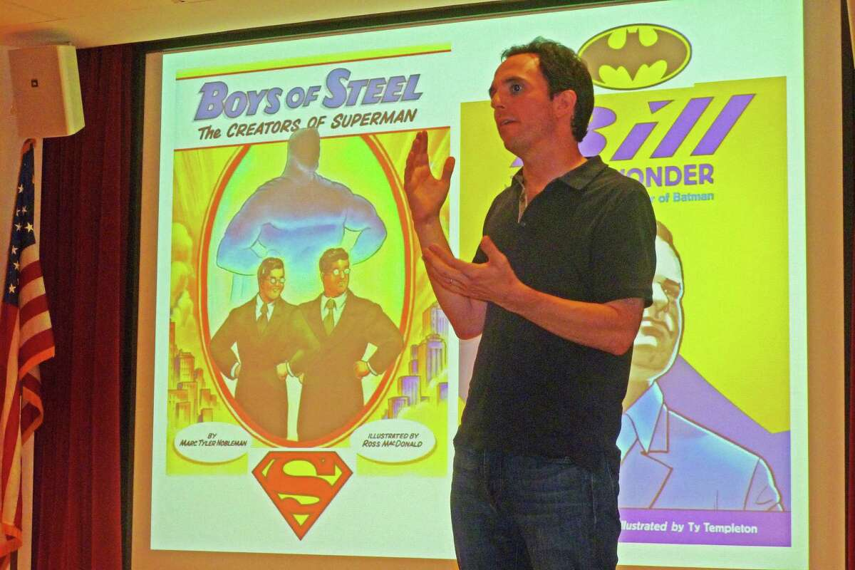 Marc Tyler Nobleman speaks at New Canaan Library Monday about his books, ìBoys of Steel: The Creators of Superman,î and ìBill the Boy Wonder: The Secret Co-Creator of Batman.î Nobleman believes the record needs to be set straight about the creative genesis of the two iconic superheroes.
