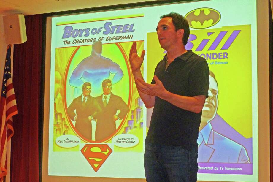 Marc Tyler Nobleman speaks at New Canaan Library Monday about his books,  ìBoys of Steel: The Creators of Superman,î and ìBill the Boy Wonder: The Secret Co-Creator of Batman.î Nobleman believes the record needs to be set straight about the creative genesis of the two iconic superheroes. Photo: Martin Cassidy / Hearst Connecticut Media / New Canaan News