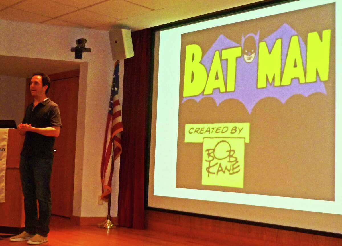 Marc Tyler Nobleman addresses the audience at New Canaan Library Monday.