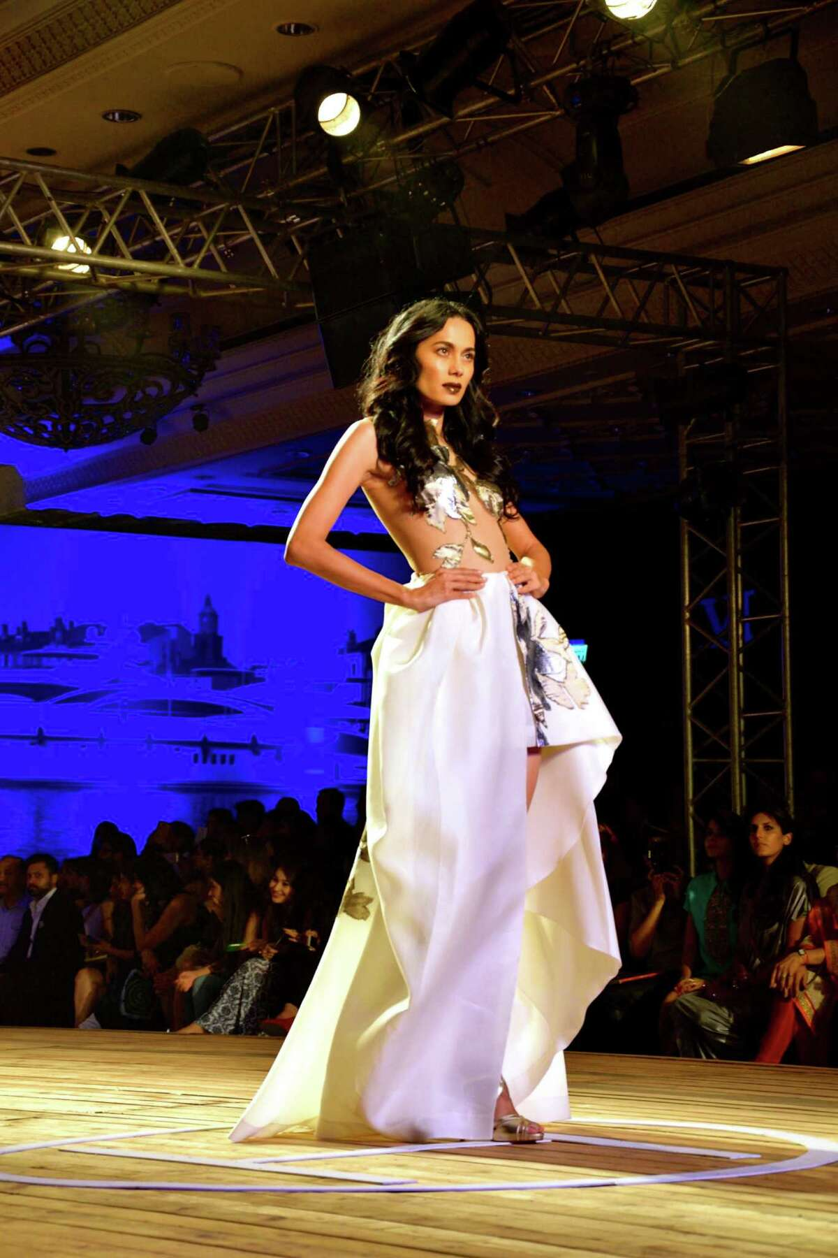 Monisha Jaising's couture collection for the Fashion Design Council of India's (FDCI) Amazon India Couture Week 2015 on day three centered around a nautical theme called The Sailing Bride at the Taj Palace Hotel in New Delhi, India.