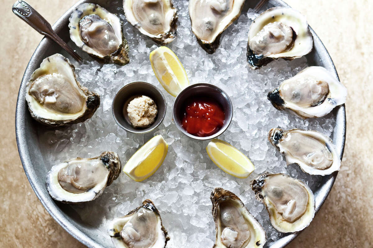 A platter of Gulf oysters from Tony Mandola's restaurant, Houston. The restaurant is celebrating National Oyster Day with $1 oysters on the half shell.