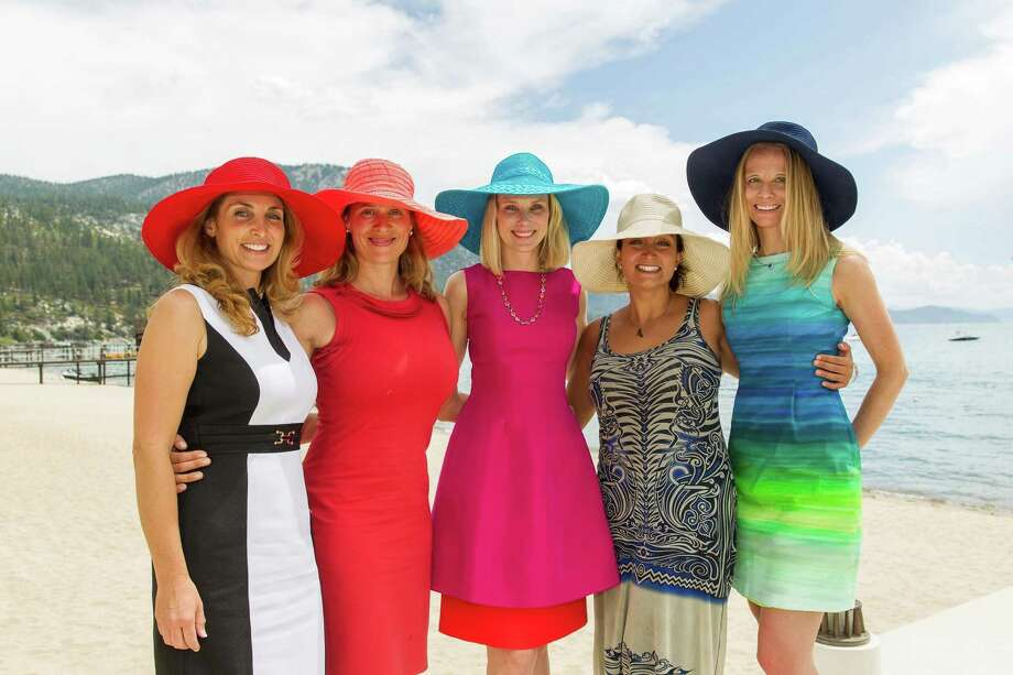 Heather Henri, Alyssa Rapp, Marissa Mayer, Shirin Oskooi and Jamie Cross at the fashion show for the Oscar de la Renta Resort 2016 collection presented by Saks Fifth Avenue and The League to Save Lake Tahoe on August 1, 2015. Photo: Laura Morton, Drew Altizer Photography / ©Drew Altizer Photography 2015