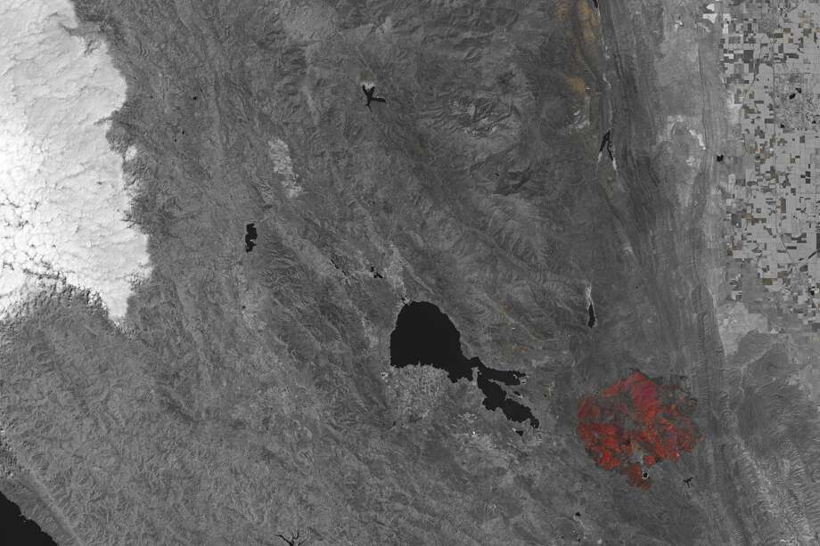 A look at the Rocky Fire taken from space, courtesy of the NASA Earth Observatory images by Joshua Stevens using Landsat data from the U.S. Geological Survey. Photo: NASA Earth Observatory, Courtesy