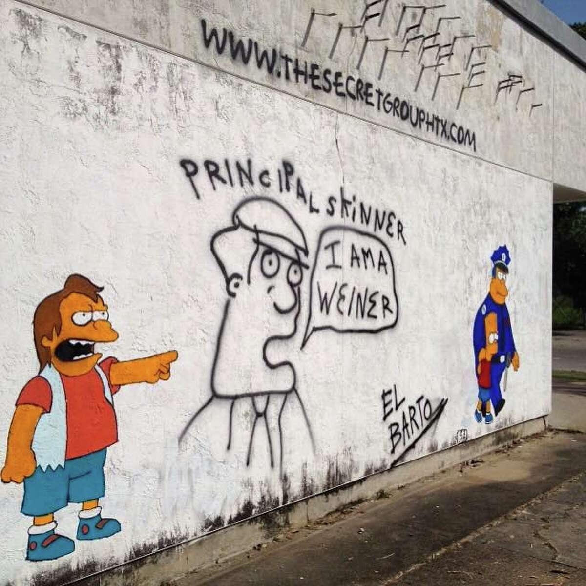 For the past few months on downtown Houston's east side a small mural of sorts has been evolving at the corner of Saint Emanuel and Polk featuring characters from Fox's