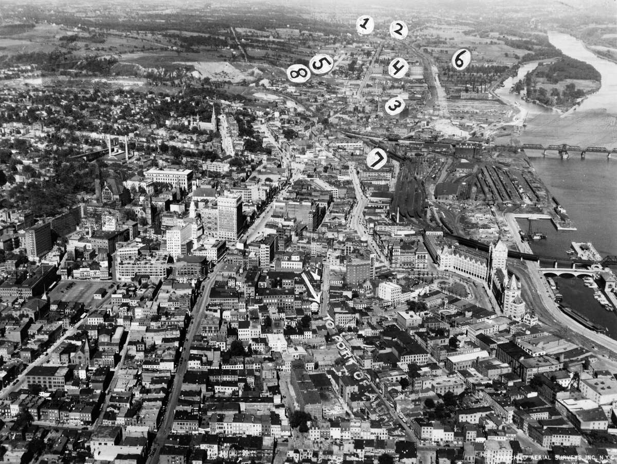 Downtown Albany aerial view of Hudson River and rail yard, Nov. 19, 1930, by Fairchild Aerial Surveying of NYC. (Times Union Archive)