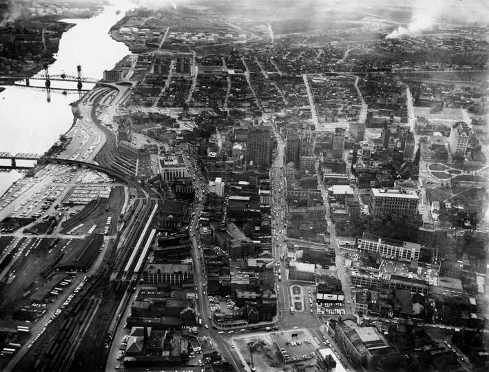 Downtown Albany Aerial View Showing Rail Yard And Hudson