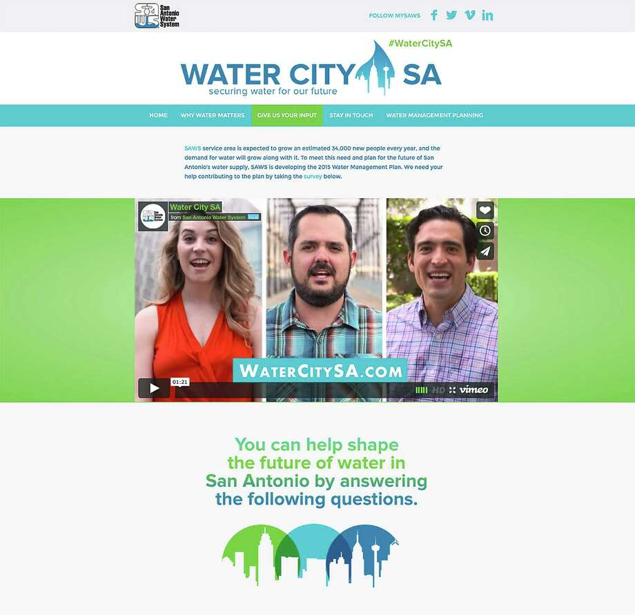 San Antonio Water System's microsite, WaterCitySA.com, includes a six-question survey on people's priorities for water conservation, supply, pricing and drought restrictions. Target users are the under-45 demographic and people who use portable electronic communication devices. Photo: /