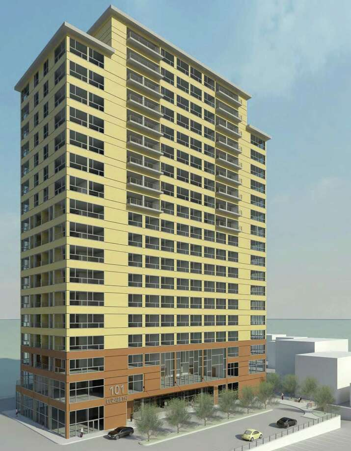 A rendering of a 19-story hotel/apartment tower that has been proposed in downtown Derby by Riordan Migani Architects, of Seymour. Photo: Amigani / Contributed Photo