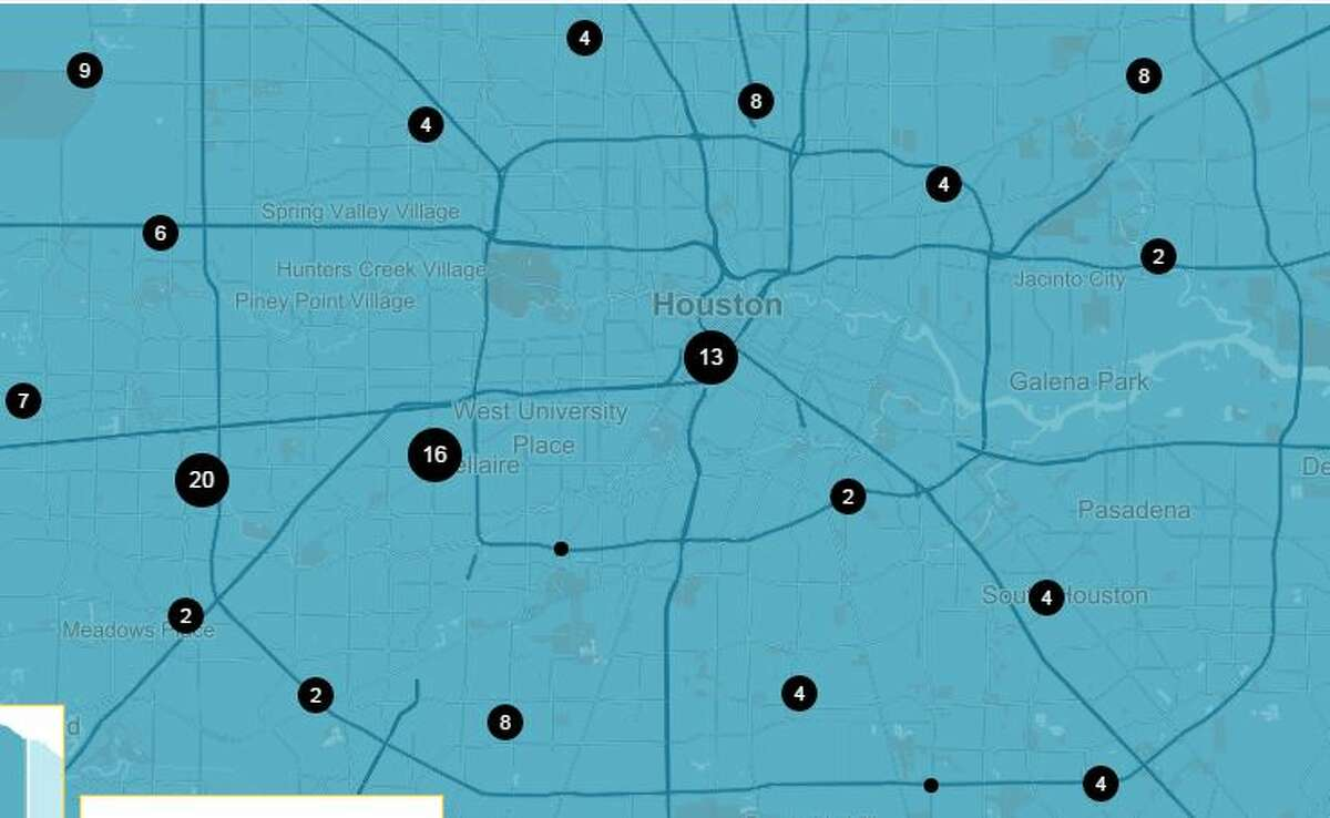 These dots represent clusters of fatalities caused by red-light runners in the Houston area, 2004 to 2013. Source: National Coalition for Safer Roads