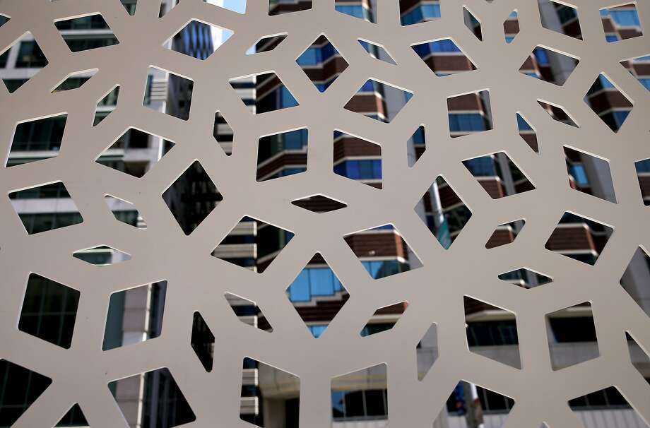 The patterns of one of the prototype panels that will cover the exterior of the Transbay Transit Center in downtown San Francisco, Calif., as seen on Wed. August 5, 2015. Photo: Michael Macor, The Chronicle