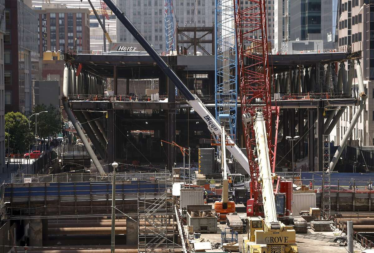 Construction of the Transbay Transit Center continues in downtown San Francisco, Calif., on Wed. August 5, 2015.