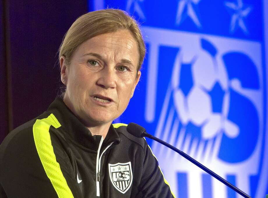 FILE - In this May 27, 2015, file photo, U.S. women's soccer head coach Jill Ellis speaks during the U.S. Women's National Team World Cup media day in New York. Ellis has been rewarded for leading the U.S. women to the World Cup title with a contract extension.  The U.S. Soccer Federation said Wednesday, Aug. 5, 2015, that Ellis had agreed to a multi-year extension. That leaves Ellis in charge as the Americans prepare for next year's Olympics in Rio de Janeiro. (AP Photo/Bebeto Matthews, File) Photo: Bebeto Matthews, Associated Press