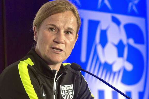 FILE - In this May 27, 2015, file photo, U.S. women's soccer head coach Jill Ellis speaks during the U.S. Women's National Team World Cup media day in New York. Ellis has been rewarded for leading the U.S. women to the World Cup title with a contract extension.  The U.S. Soccer Federation said Wednesday, Aug. 5, 2015, that Ellis had agreed to a multi-year extension. That leaves Ellis in charge as the Americans prepare for next year's Olympics in Rio de Janeiro. (AP Photo/Bebeto Matthews, File)