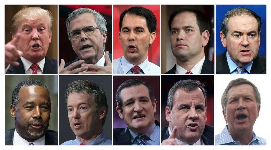 Top row: Donald Trump (left); ex-Florida Gov. Jeb Bush; Wis consin Gov. Scott Walker; Florida Sen. Marco Rubio; ex-Arkansas Gov. Mike Huckabee. Bottom row: Dr. Ben Carson (left); Kentucky Sen. Rand Paul; Texas Sen. Ted Cruz; New Jersey Gov. Chris Christ ie; Ohio Gov. John Kasich. Photo: -, AFP / Getty Images