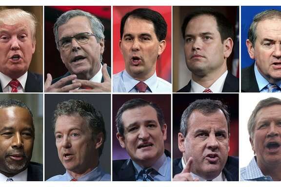 (FILES): These recent file photos show the ten Republican presidential candidates who will  appear  August 6, 2016 on Fox News for the first US presidential debate of the 2016 Republican primary cycle. Top row from left:  Billionaire real-estate tycoon Donald Trump; former Florida governor Jeb Bush; Wisconsin Governor Scott Walker; Florida Senator Marco Rubio; former Arkansas governor Mike Huckabee. Bottom row from left:  Retired neurosurgeon Ben Carson; Kentucky Senator Rand Paul;  Texas Senator Ted Cruz;  New Jersey Governor Chris Christie; and Ohio Governor John Kasich.    AFP PHOTO / Files-/AFP/Getty Images