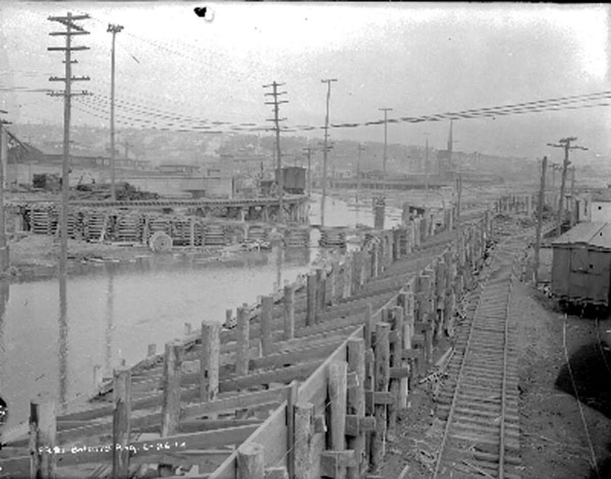This photo is looking east on Shilshole from 15th Avenue during a Ballard regrade project, taken June 26, 1914.