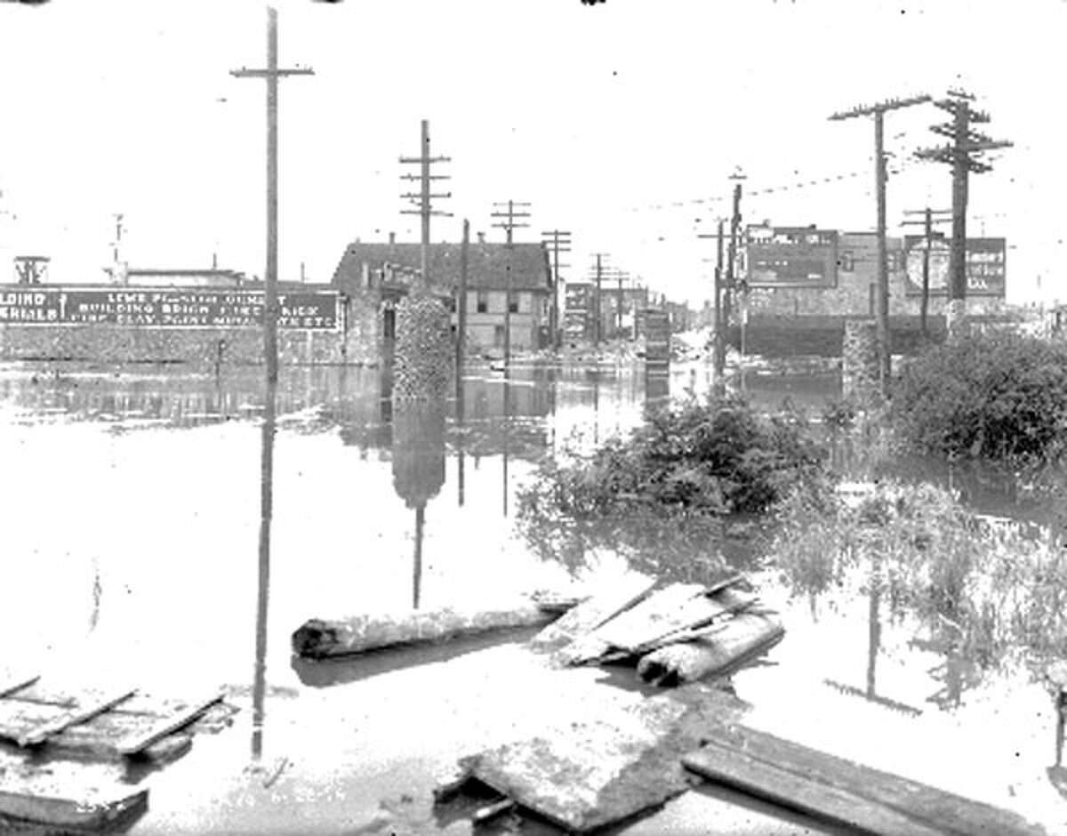 This June 26, 1914 photo was taken from the foot of Ballard Avenue during a regrade project of the area.