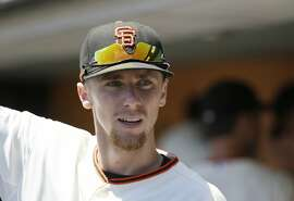 San Francisco Giants third baseman Matt Duffy in the dugout before the start of their baseball game against the Milwaukee Brewers Wednesday, July 29, 2015, in San Francisco. (AP Photo/Eric Risberg)