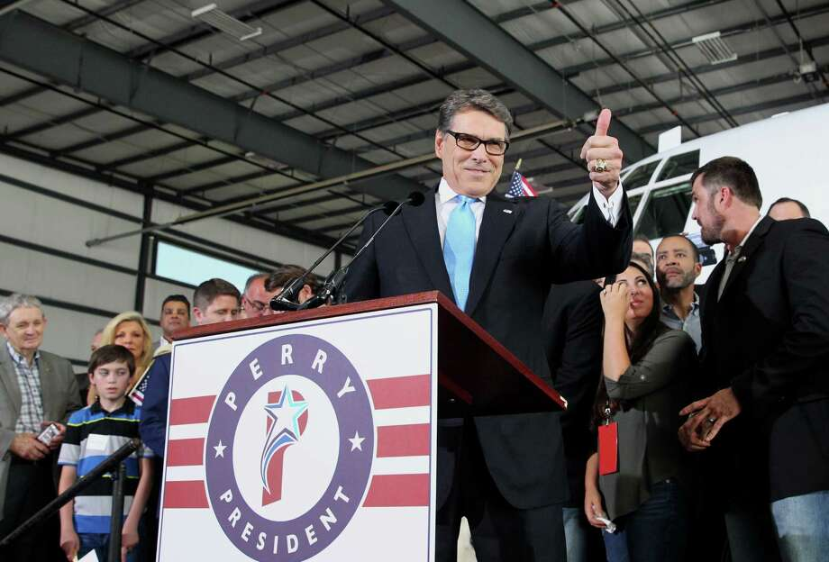 Former Texas Gov. Rick Perry announced his candidacy for President of the United States today iin Addison, Texas to a group of supporters on Thursday, June 4, 2014. Photo: Tom Reel, Staff / Tom Reel / San Antonio Express-News