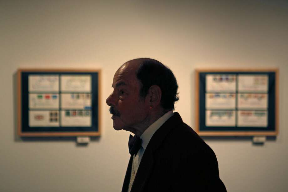 "Alan A. Blackman, calligrapher, is seen with his collection of ""Letters to Myself"" in the Jewett Gallery at the Main Library in San Francisco, California, on Saturday, May 30, 2015. Photo: Brandon Chew, The Chronicle"