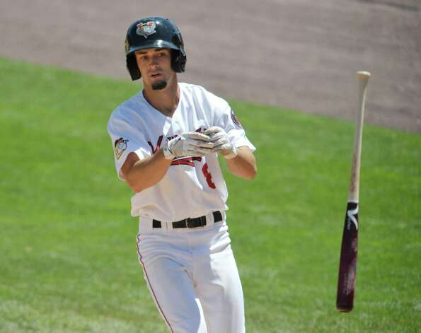 ValleyCats Aaron Mizell tosses his bat after being walked   during their game against Aberdeen on Monday, July 20, 2015, in Troy, N.Y.   (Paul Buckowski / Times Union)