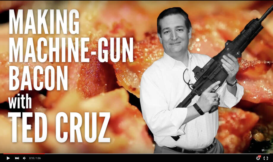 A YouTube video shows presidential hopeful Sen. Ted Cruz, R-Texas, cooking a few strips of bacon off the end of a semi-automatic rifle at a gun range in Boone, Iowa. Photo: Youtube.com / Youtube.com