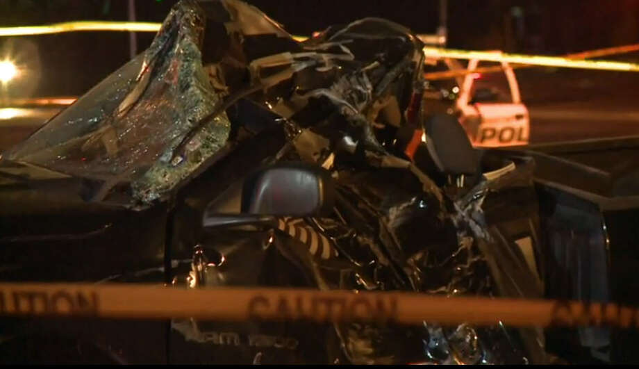 A man was killed early Thursday when his pickup smashed into a tree in north Houston.  The single-vehicle crash happened about 2 a.m. in the 9500 block of North Houston Rosslyn near Majestic Oaks, according to the Houston Police Department. Photo: Metro Video