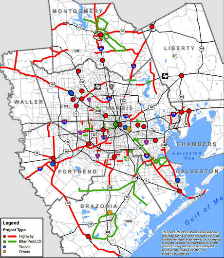 Map locates all 188 projects submitted for the Houston-Galveston Area Council Transportation Improvement Plan for 2015.