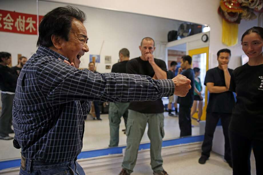 Grandmaster Chris Chan, a former classmate of Bruce Lee's, teaches a class at U.S. Wing Chun in San Francisco, on Aug. 5. Photo: Scott Strazzante, The Chronicle