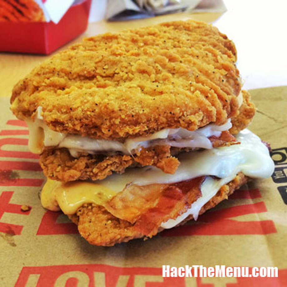This is the KFC Triple Down, which replaces buns with more chicken! Photo: Courtesy Photo/HackTheMenu.com