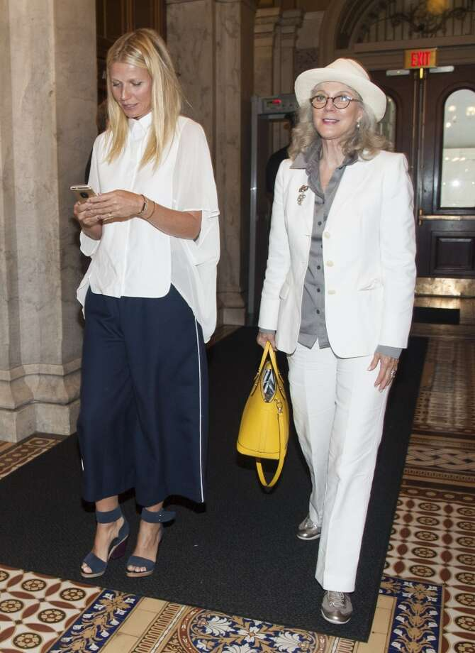 "Actresses Blythe Danner and her daughter Gwyneth Paltrow speak during a news conference to discuss opposition to H.R. 1599 on August 5, 2015 in Washington, DC.  H.R.1599, known as the ""Deny Americans the Right to Know (DARK),"" which would ""take away the right of states to label Genetically Modified Organisms, stop the Food and Drug Administration from ever using its authority to craft a national GMO labeling standard, and add to consumer confusion by allowing 'natural' claims on GMO foods."" Photo: Kris Connor, Getty"