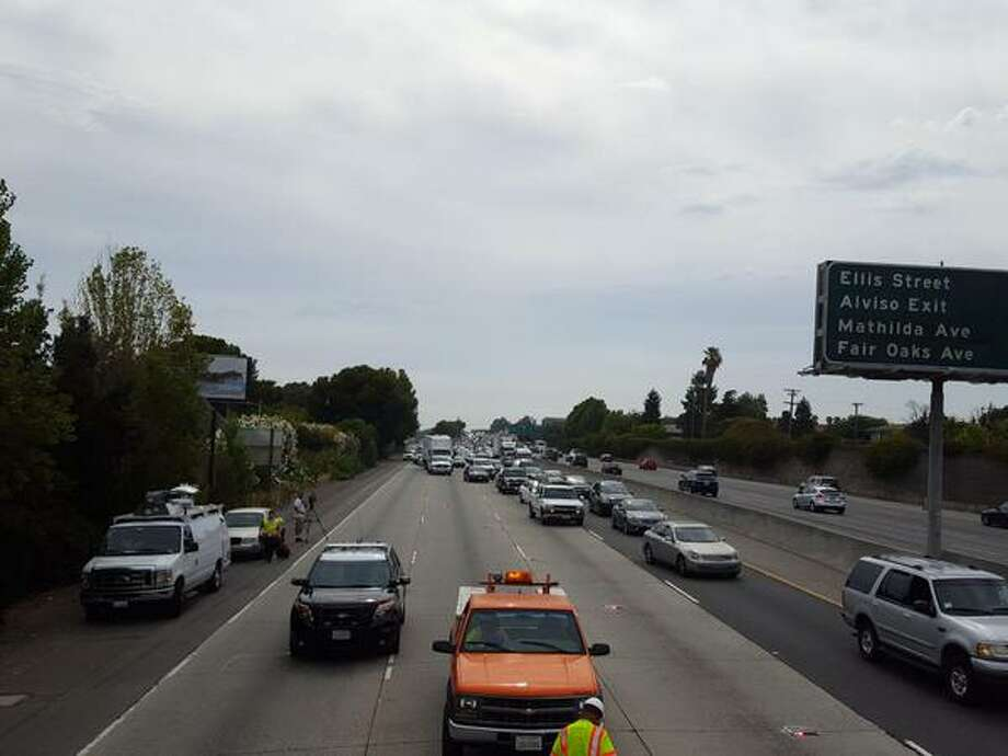 A motorcyclist was killed in a collision with a dump truck on U.S. Highway 101 in Mountain View Thursday morning. The accident closed three northbound lanes of Highway 101 north of Ellis Street. Photo: Courtesy CHP / Redwood City