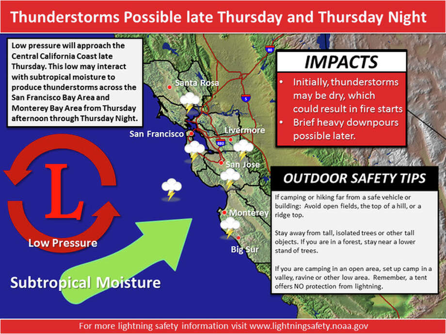 Thunderstorms Possible late Thursday and Thursday night. Photo: NWS Bay Area