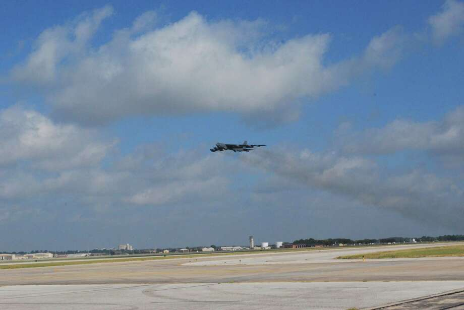 The first B-52 to undergo repairs in San Antonio since the transfer of the former Kelly AFB takes off from Port San Antonio to return to Barksdale AFB in Louisiana. Photo: Boeing San Antonio
