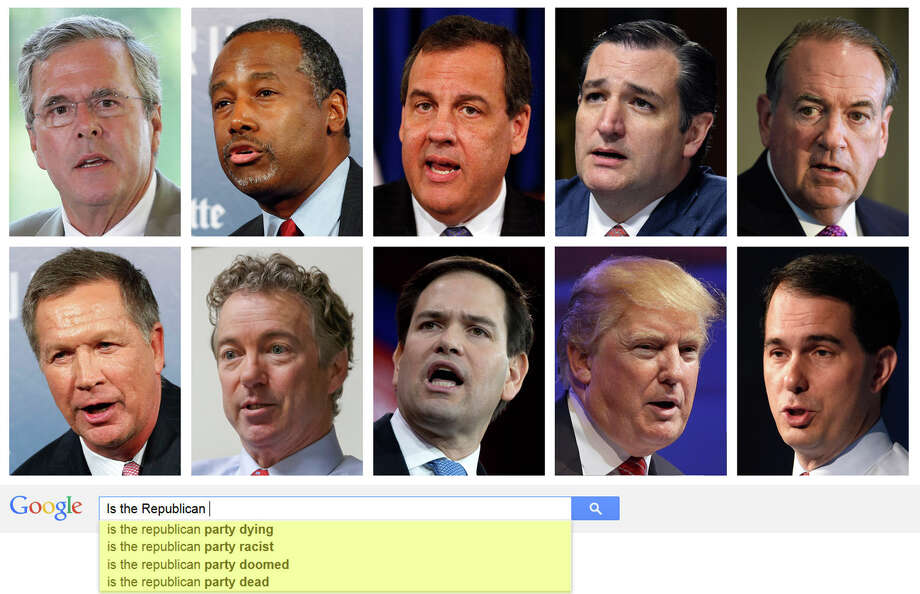 "The Republican Party (Republican)Based on Google's ""autofill"" responses, Google users must ask some interesting (and quite offensive) questions about the candidates running for president in 2016. Photo: Associated Press 