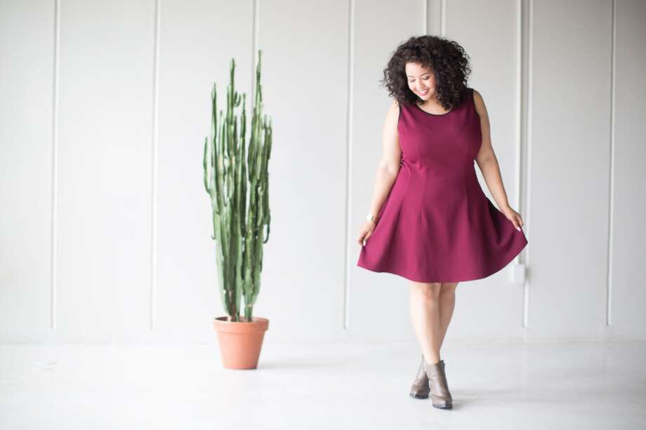 Fashion blogger Gabi Gregg models  a dress from the fall line of Target's AVA & VIV plus-size collection. Photo: Target