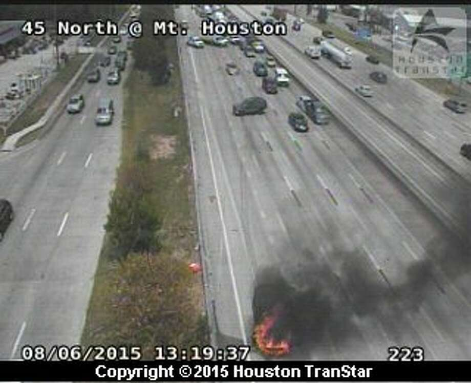 Portions of Interstate 45 were closed Thursday after a vehicle burst into flames in north Houston. Photo: Houston TranStar