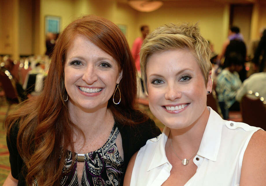 From left, Holly Pollet and Sarah Nichols at the 2015 Pioneering Women Luncheon at the Beaumont Holiday Inn on Thursday. The event is designed to recognize community leaders and raise money for text books for underprivileged students. 
