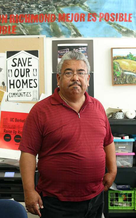 Andres Soto talks about Richmond rents in his office in downtown Richmond, Calif., on Monday, July 27, 2015.  Soto founded Richmond Progressive Alliance 10 years ago leading the campaign for rent control intending to shield  longtime residents from displacement. Photo: Liz Hafalia, The Chronicle