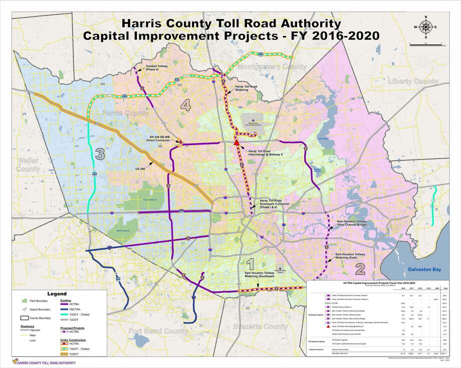 Harris County Toll Road Authority plans $2.3 billion worth of projects over the next five fiscal years.